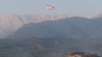 Gündoğmuş ilçesinde helikopterle yangın söndürme çalışmaları devam ediyor